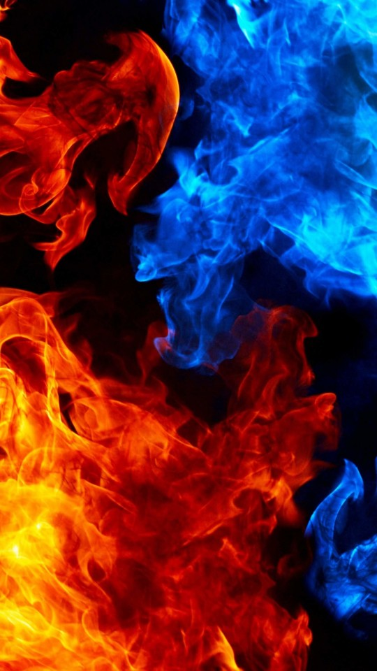 Blue And Red Fire Wallpaper for LG G2 mini