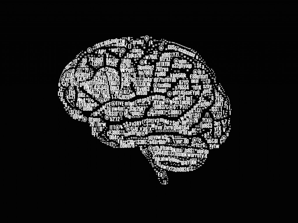 Brain Illustration Typography Wallpaper for Desktop 1024x768