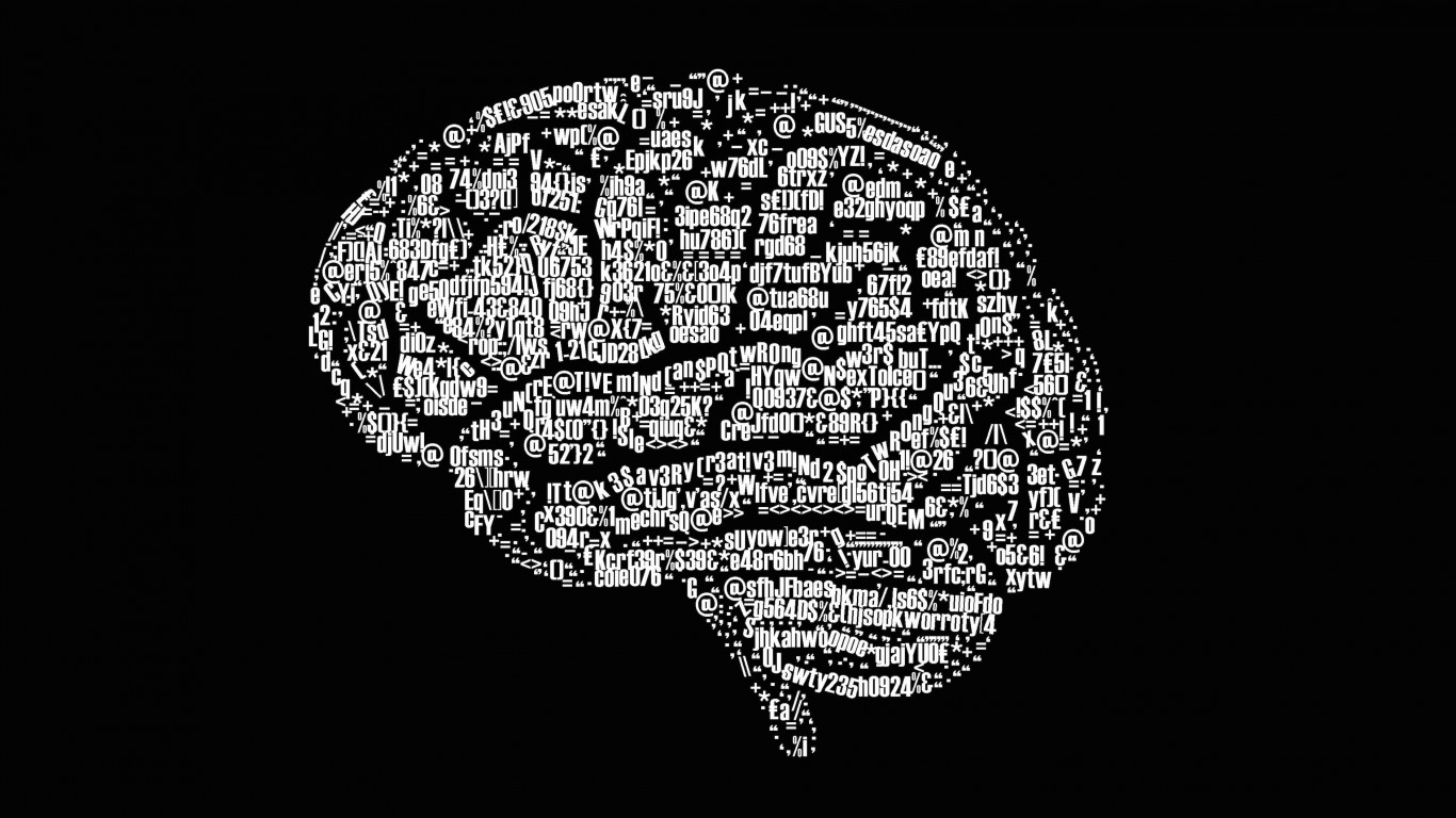 Brain Illustration Typography Wallpaper for Desktop 1366x768