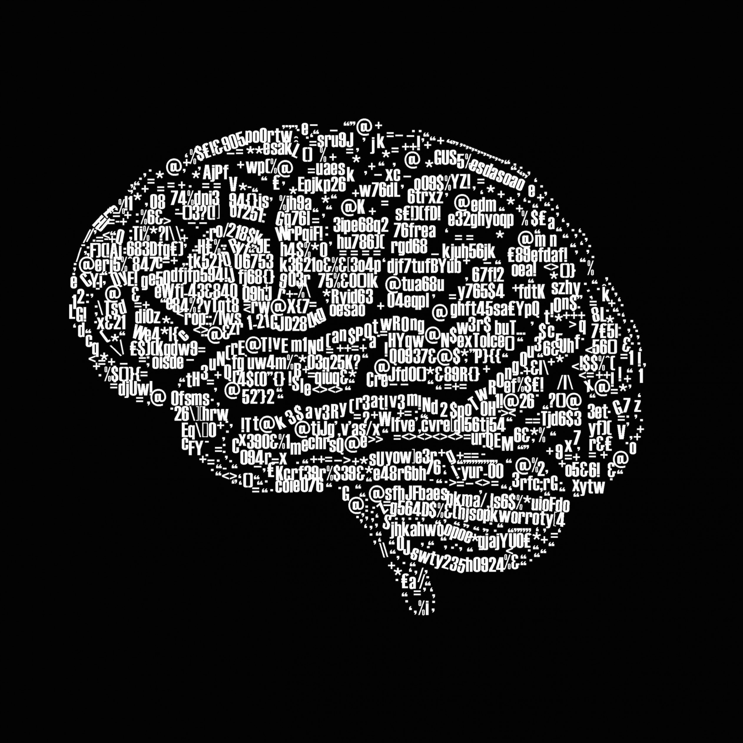 Brain Illustration Typography Wallpaper for Apple iPad 3