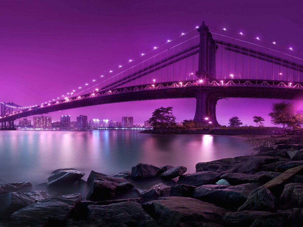 Brooklyn Bridge by night Wallpaper for Desktop 1024x768