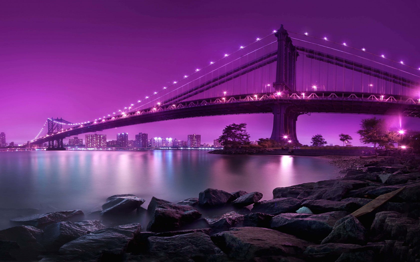 Brooklyn Bridge by night Wallpaper for Desktop 1680x1050