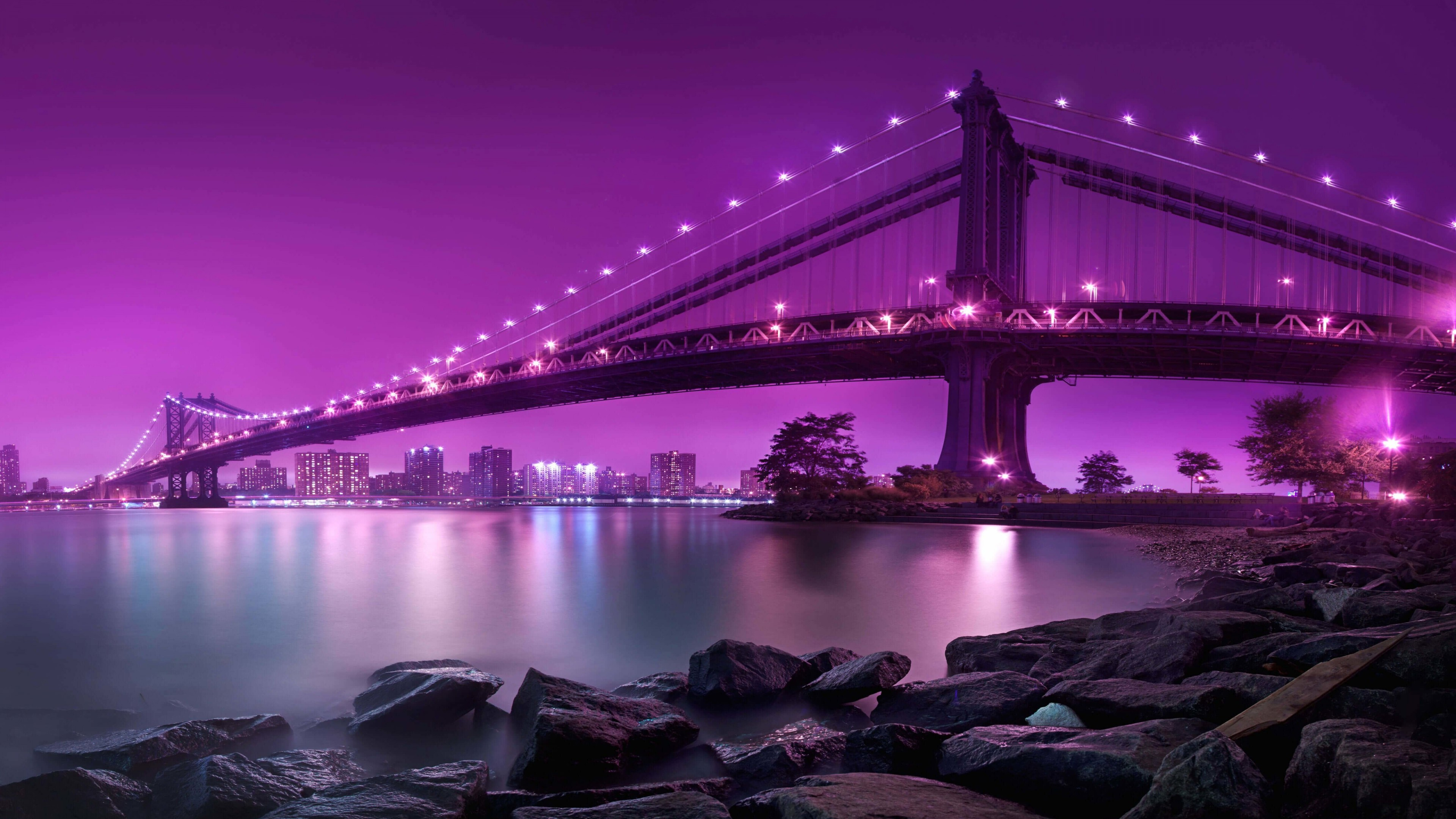 Brooklyn Bridge by night Wallpaper for Desktop 4K 3840x2160