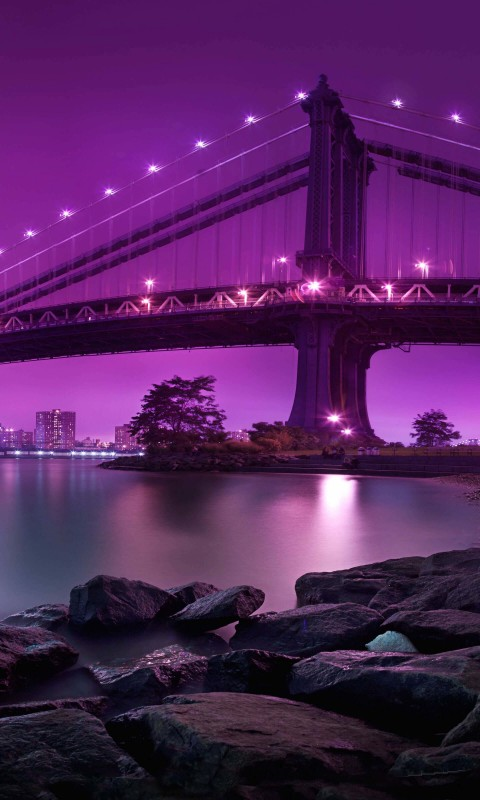 Brooklyn Bridge by night Wallpaper for SAMSUNG Galaxy S3 Mini