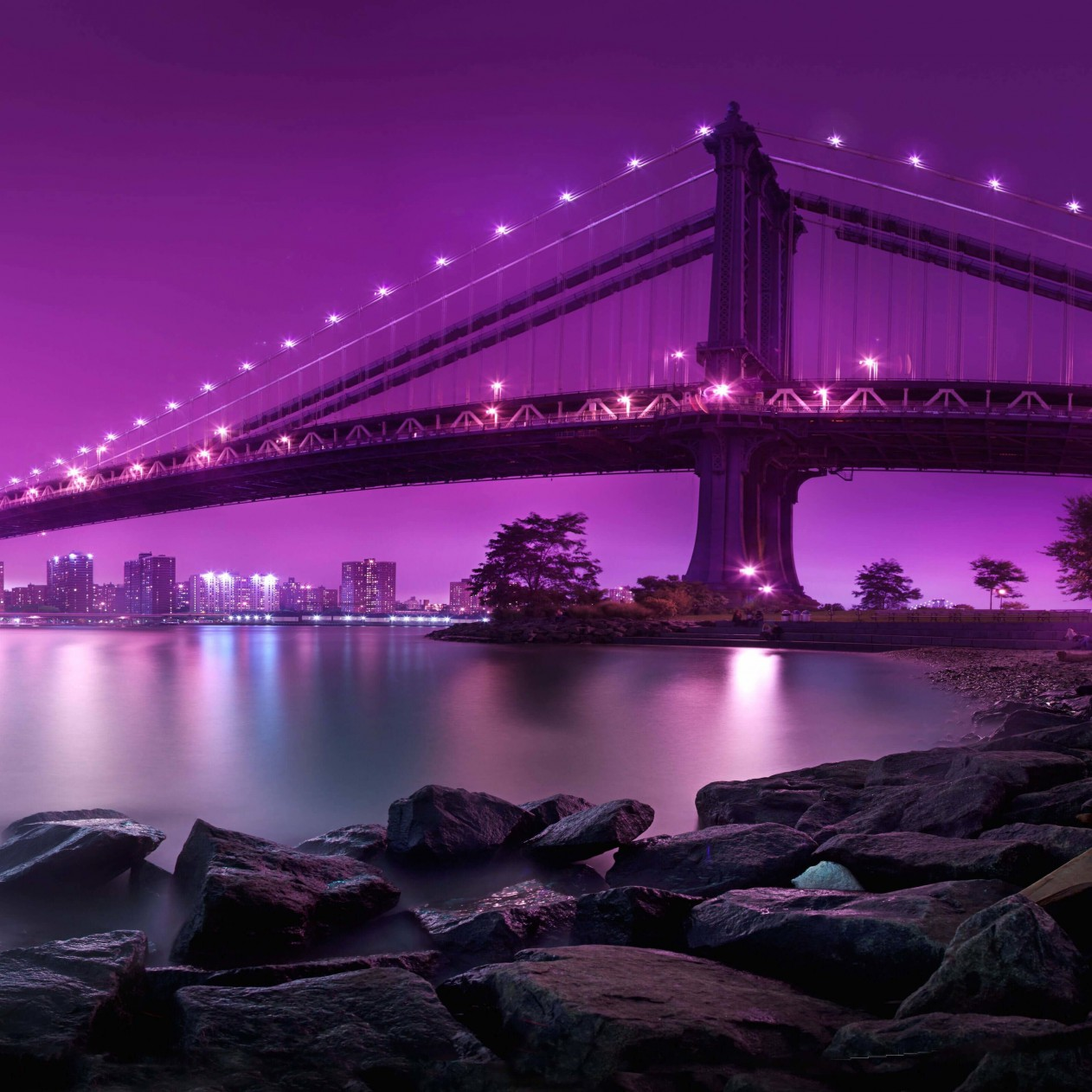 Brooklyn Bridge by night Wallpaper for Apple iPad mini