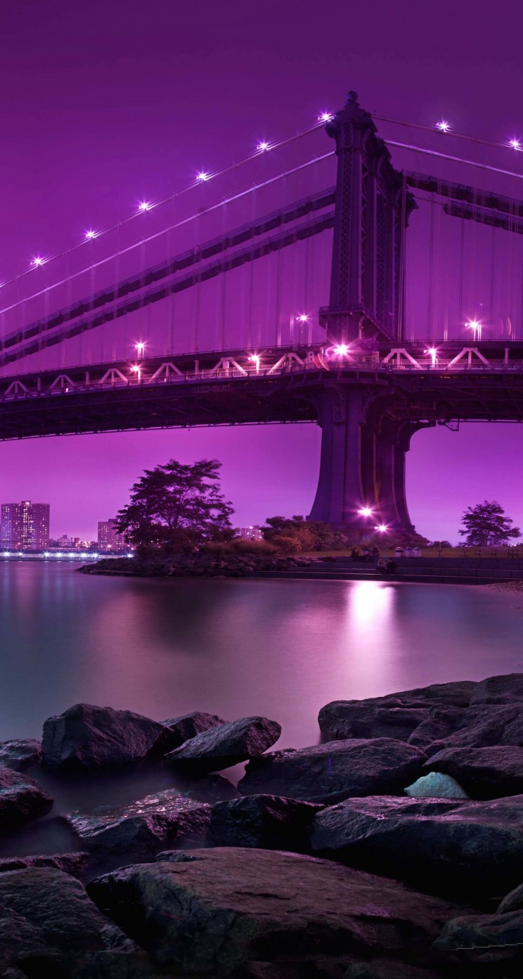 Brooklyn Bridge by night Wallpaper for Apple iPhone 5 / 5s