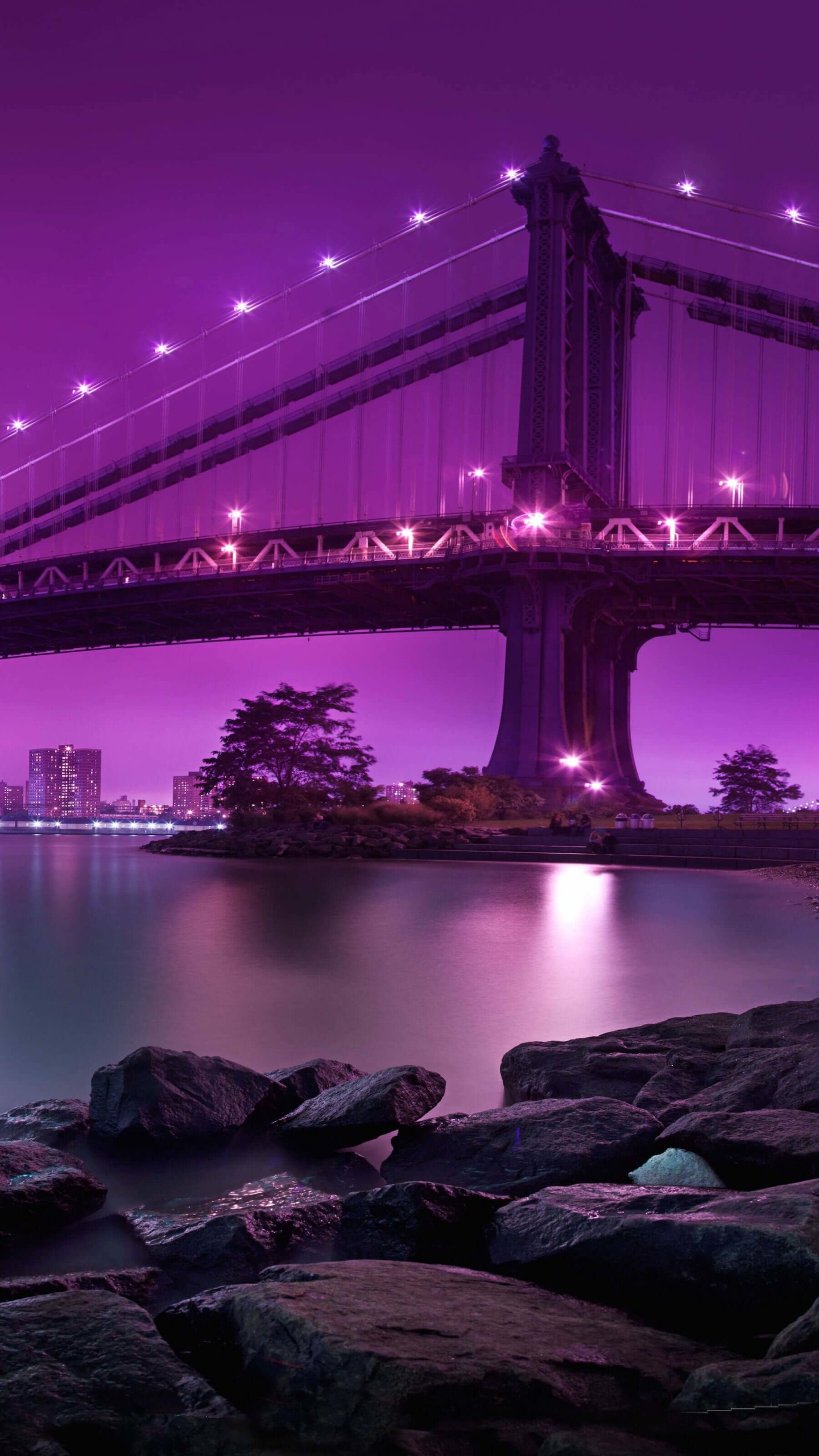 Brooklyn Bridge by night Wallpaper for Google Nexus 6