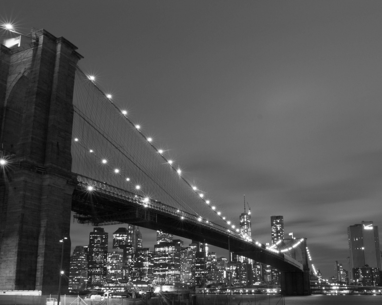 Brooklyn Bridge, New York City in Black & White Wallpaper for Desktop 1280x1024