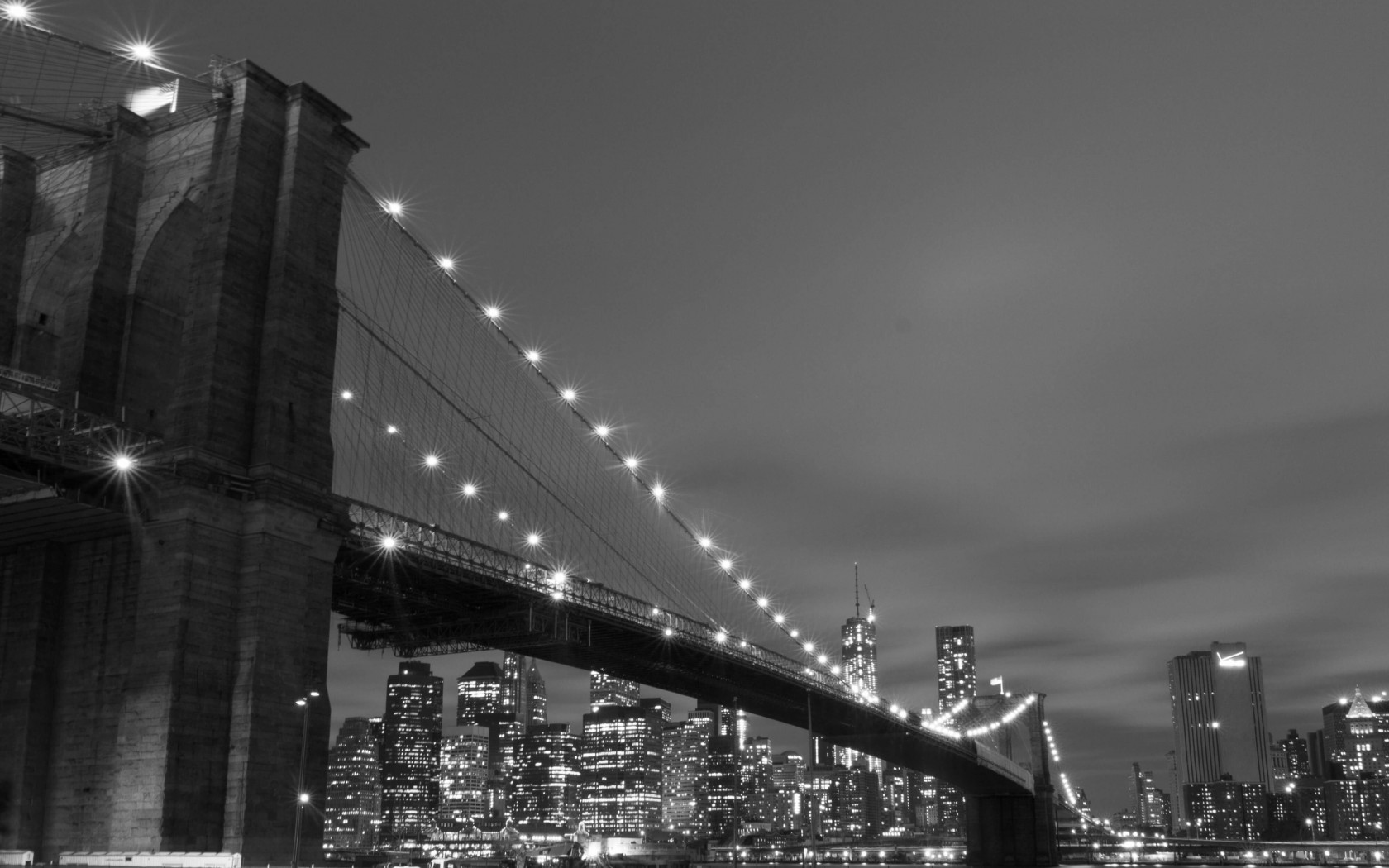 Brooklyn Bridge, New York City in Black & White Wallpaper for Desktop 1680x1050