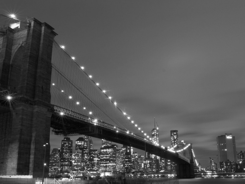 Brooklyn Bridge, New York City in Black & White Wallpaper for Desktop 800x600