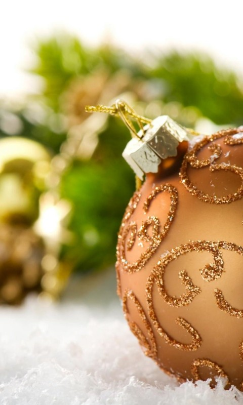 Burnt Orange Christmas Ball Decorations Wallpaper for SAMSUNG Galaxy S3 Mini