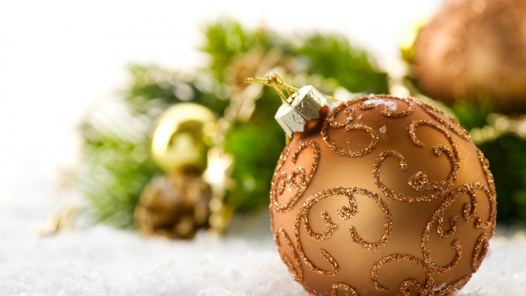 Burnt Orange Christmas Ball Decorations Wallpaper for Social Media Google Plus Cover