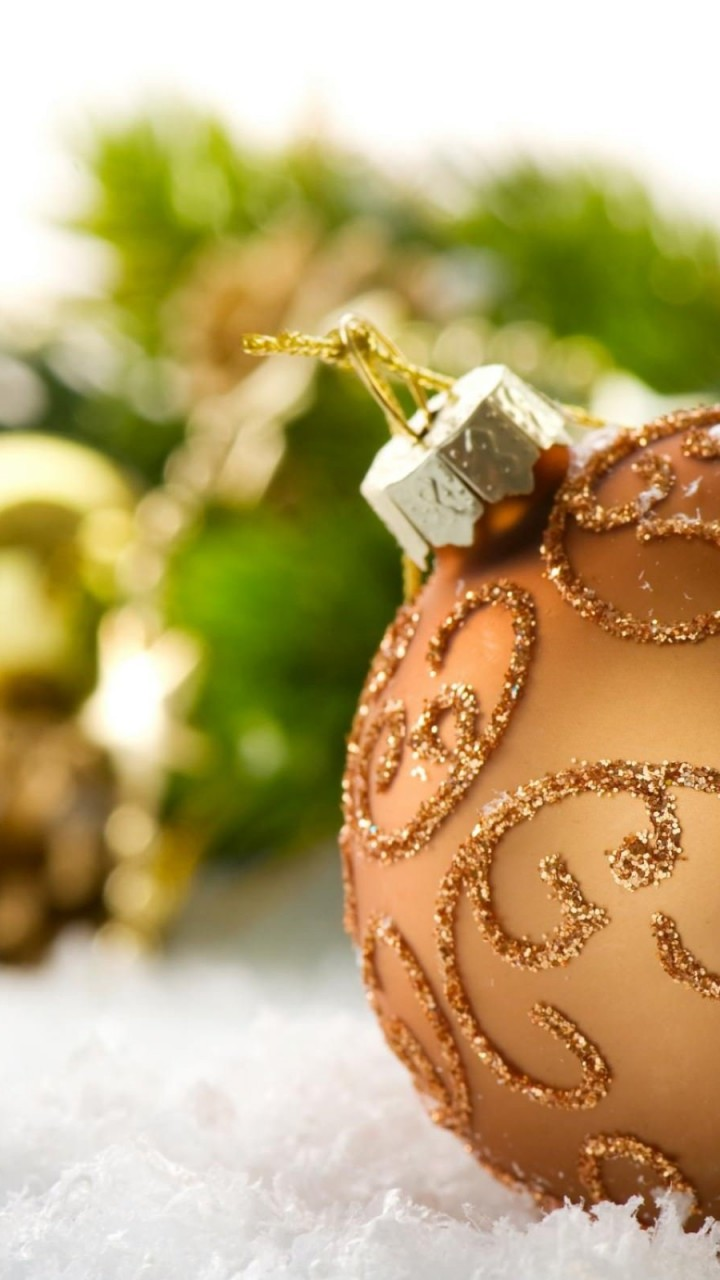 Burnt Orange Christmas Ball Decorations Wallpaper for Lenovo A6000