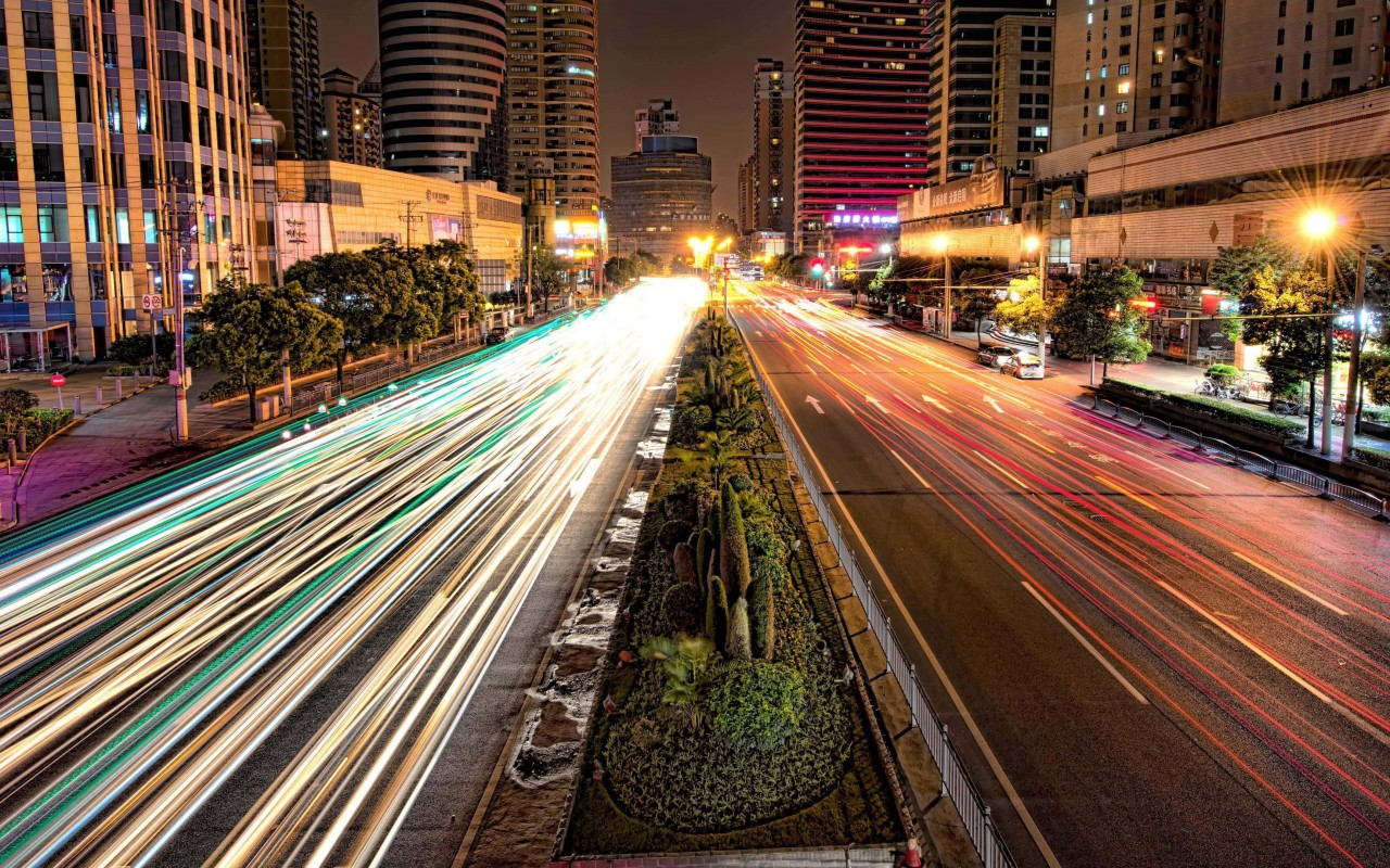Busy Road in Shanghai at Night Wallpaper for Desktop 1280x800