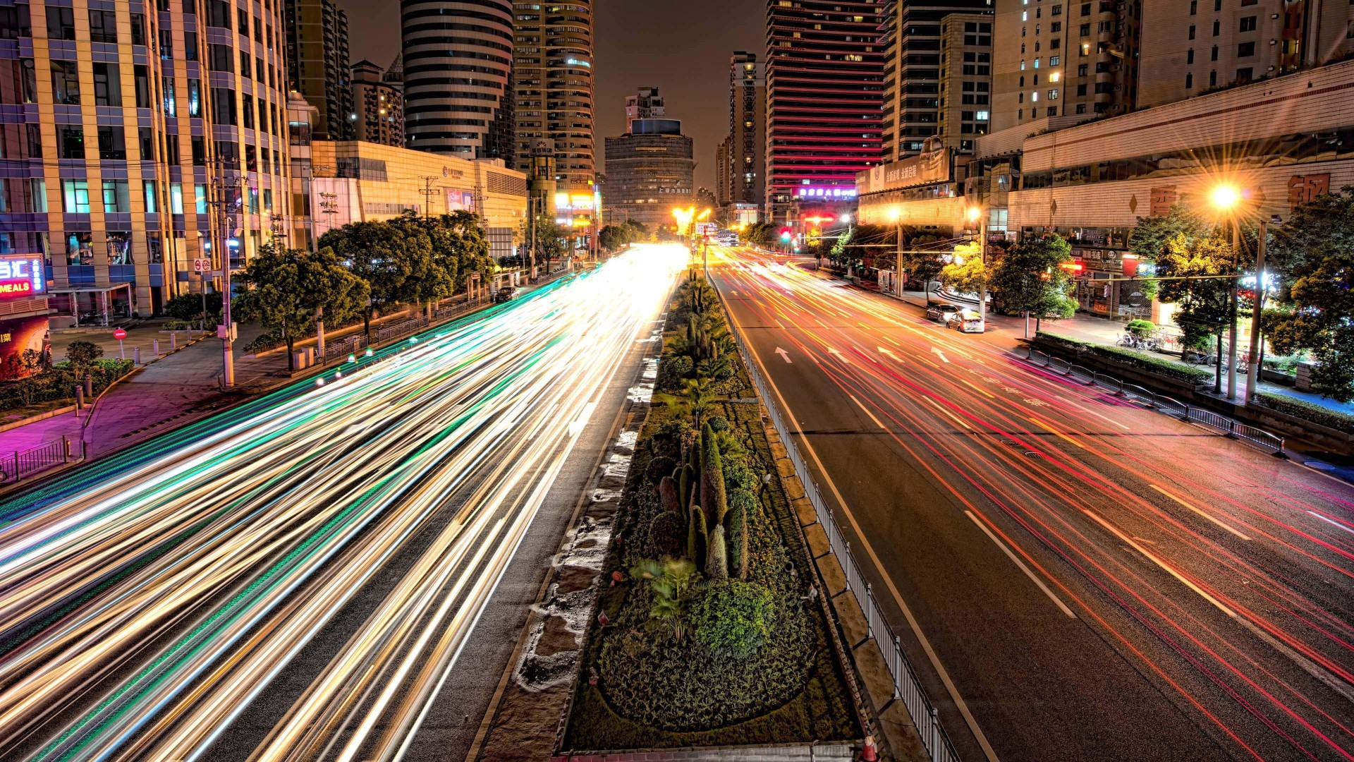 Busy Road in Shanghai at Night Wallpaper for Desktop 1920x1080