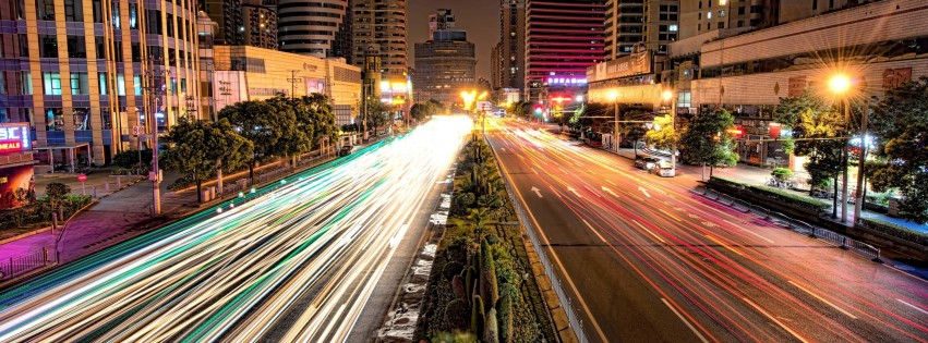 Busy Road in Shanghai at Night Wallpaper for Social Media Facebook Cover