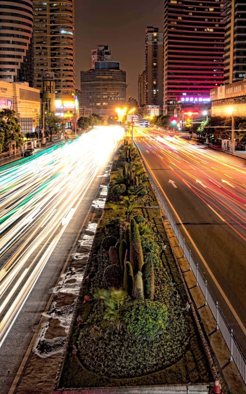 Busy Road in Shanghai at Night Wallpaper for Amazon Kindle Fire HD