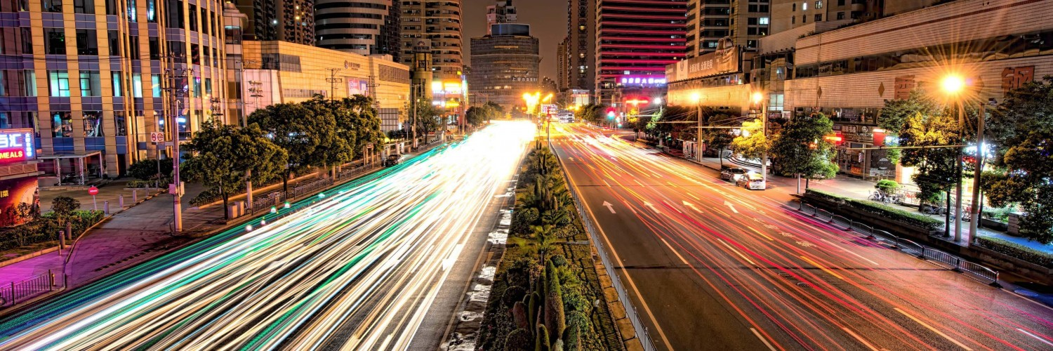 Busy Road in Shanghai at Night Wallpaper for Social Media Twitter Header