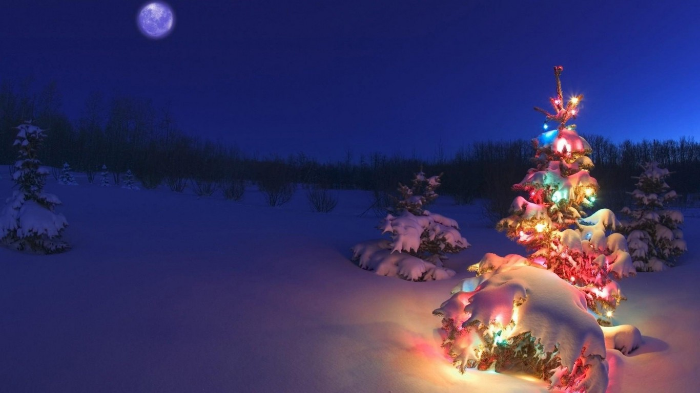 Christmas Night Moon Wallpaper for Desktop 1366x768