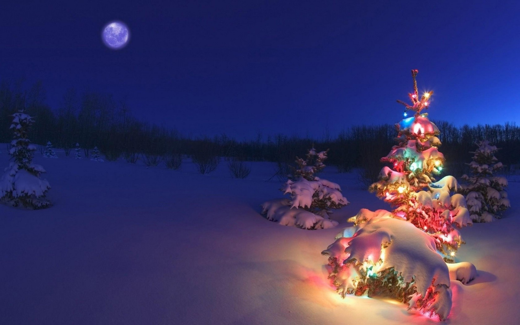 Christmas Night Moon Wallpaper for Desktop 1680x1050