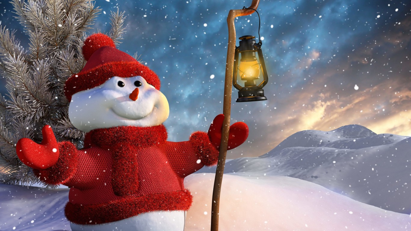 Christmas Snowman Wallpaper for Desktop 1366x768