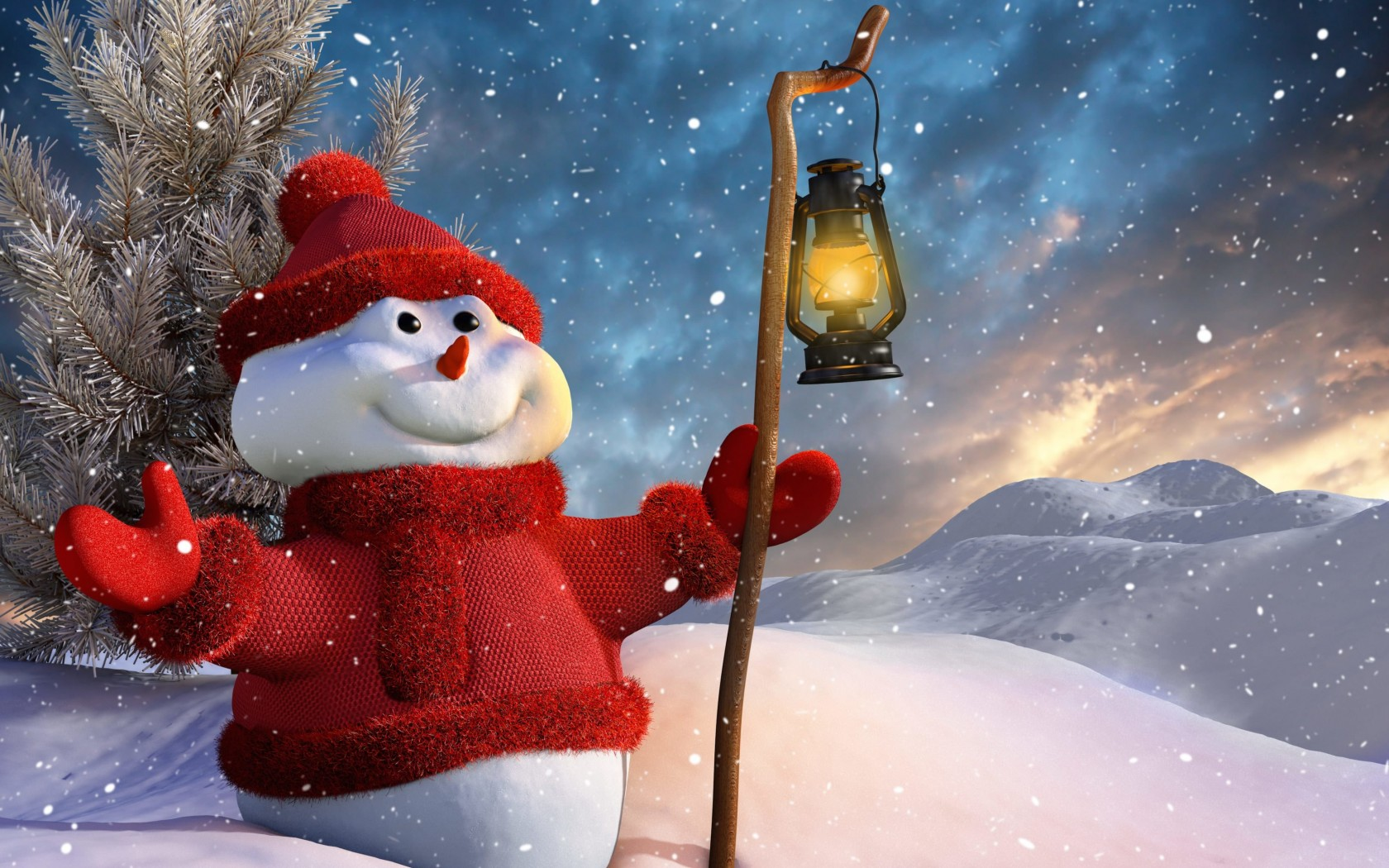 Christmas Snowman Wallpaper for Desktop 1680x1050