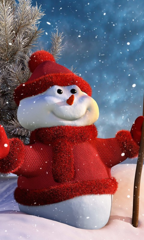 Christmas Snowman Wallpaper for HTC Desire HD