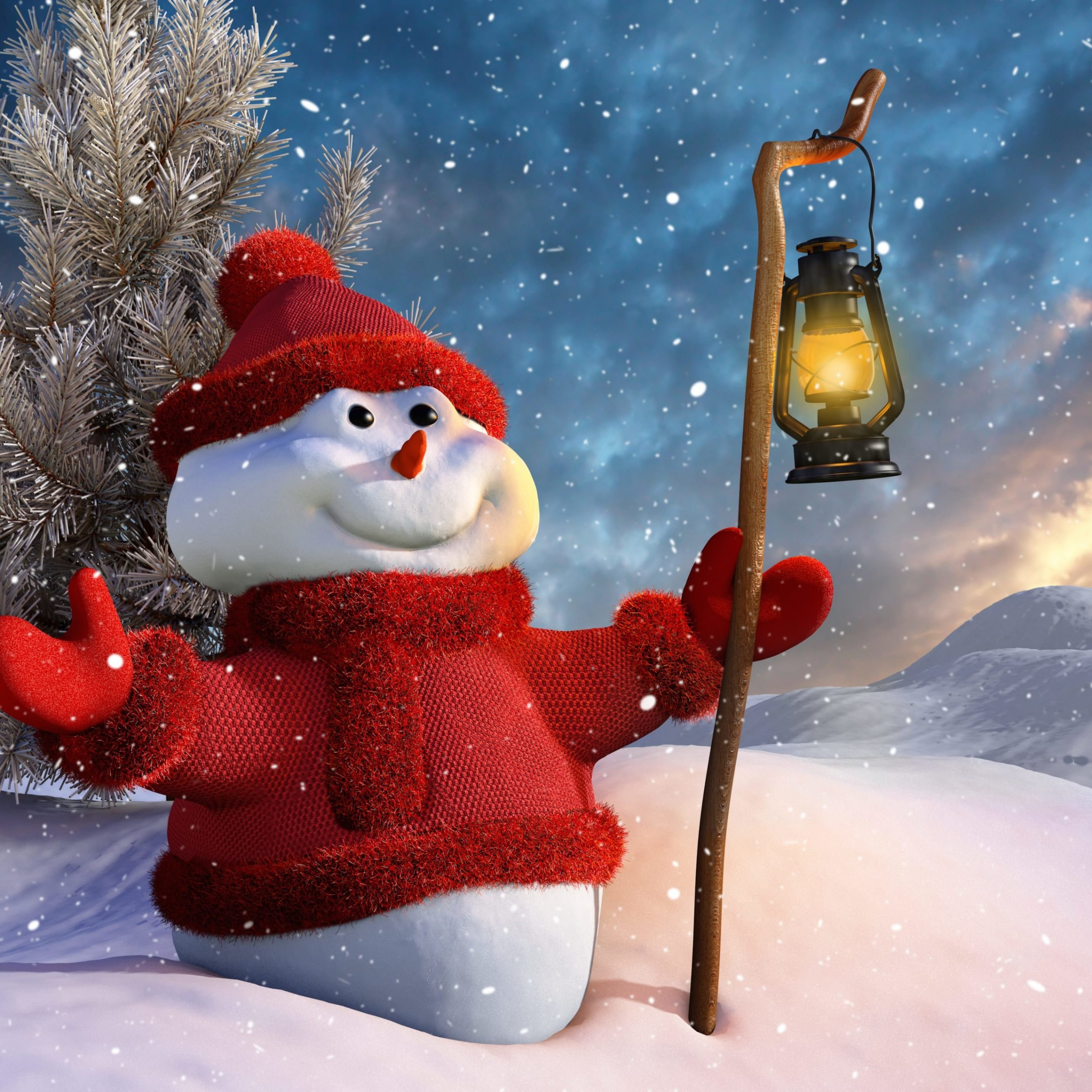 Christmas Snowman Wallpaper for Apple iPad mini 2