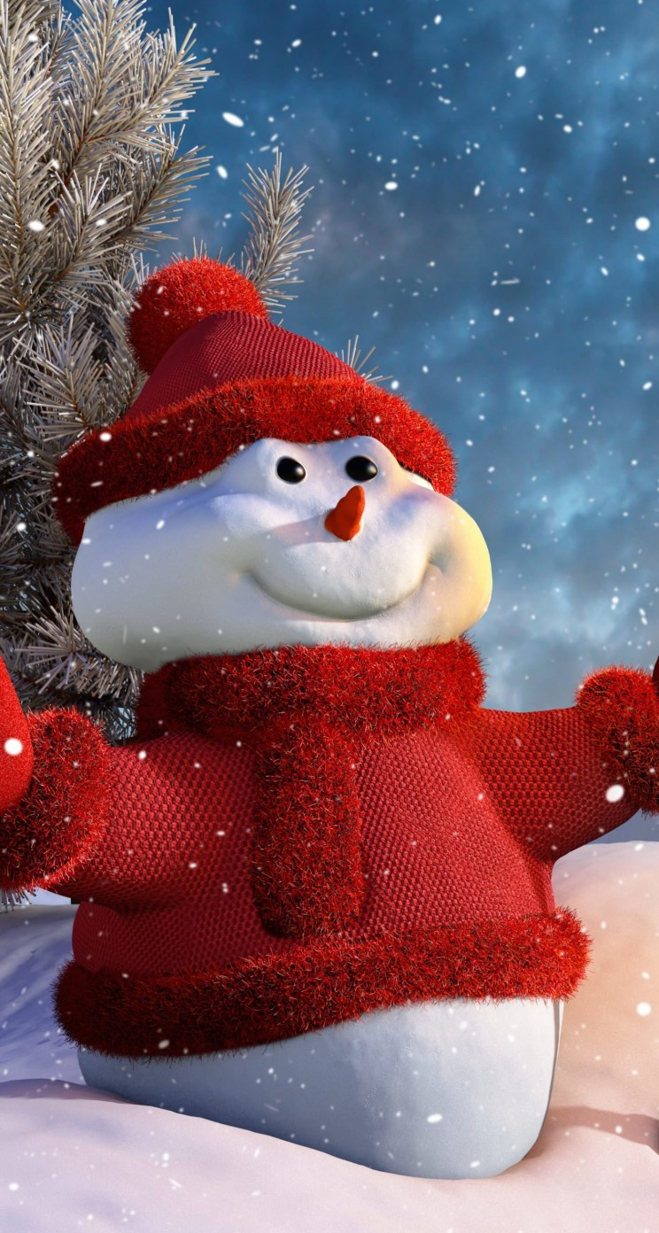 Christmas Snowman Wallpaper for Apple iPhone 5 / 5s