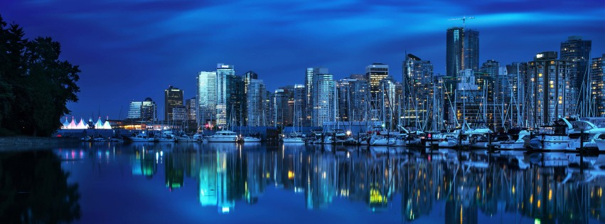 Coal Harbour Marina, Vancouver Wallpaper for Social Media Facebook Cover