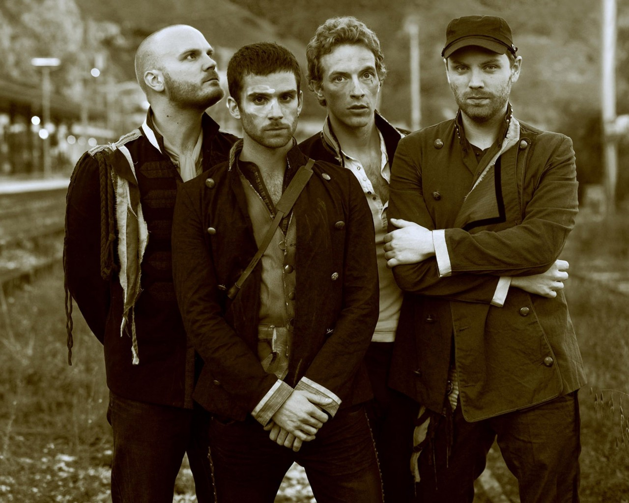 Coldplay Band Sepia Wallpaper for Desktop 1280x1024