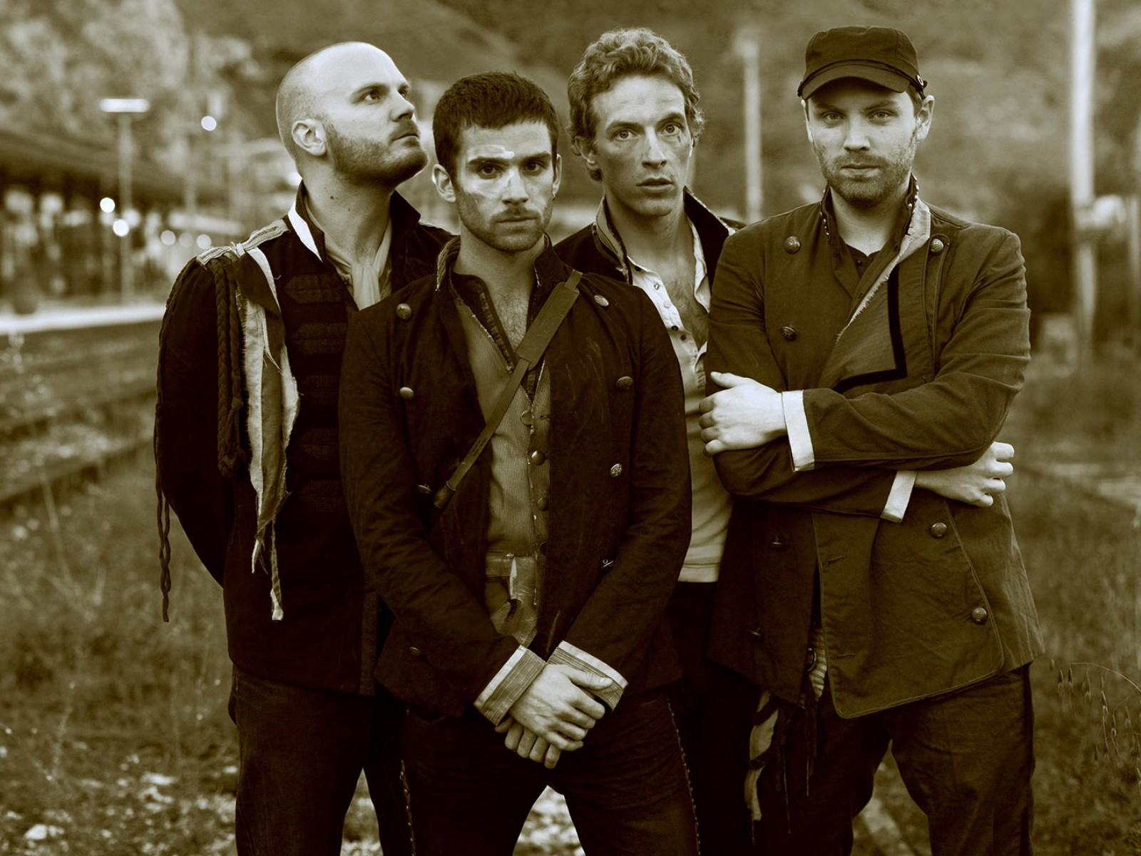 Coldplay Band Sepia Wallpaper for Desktop 1600x1200