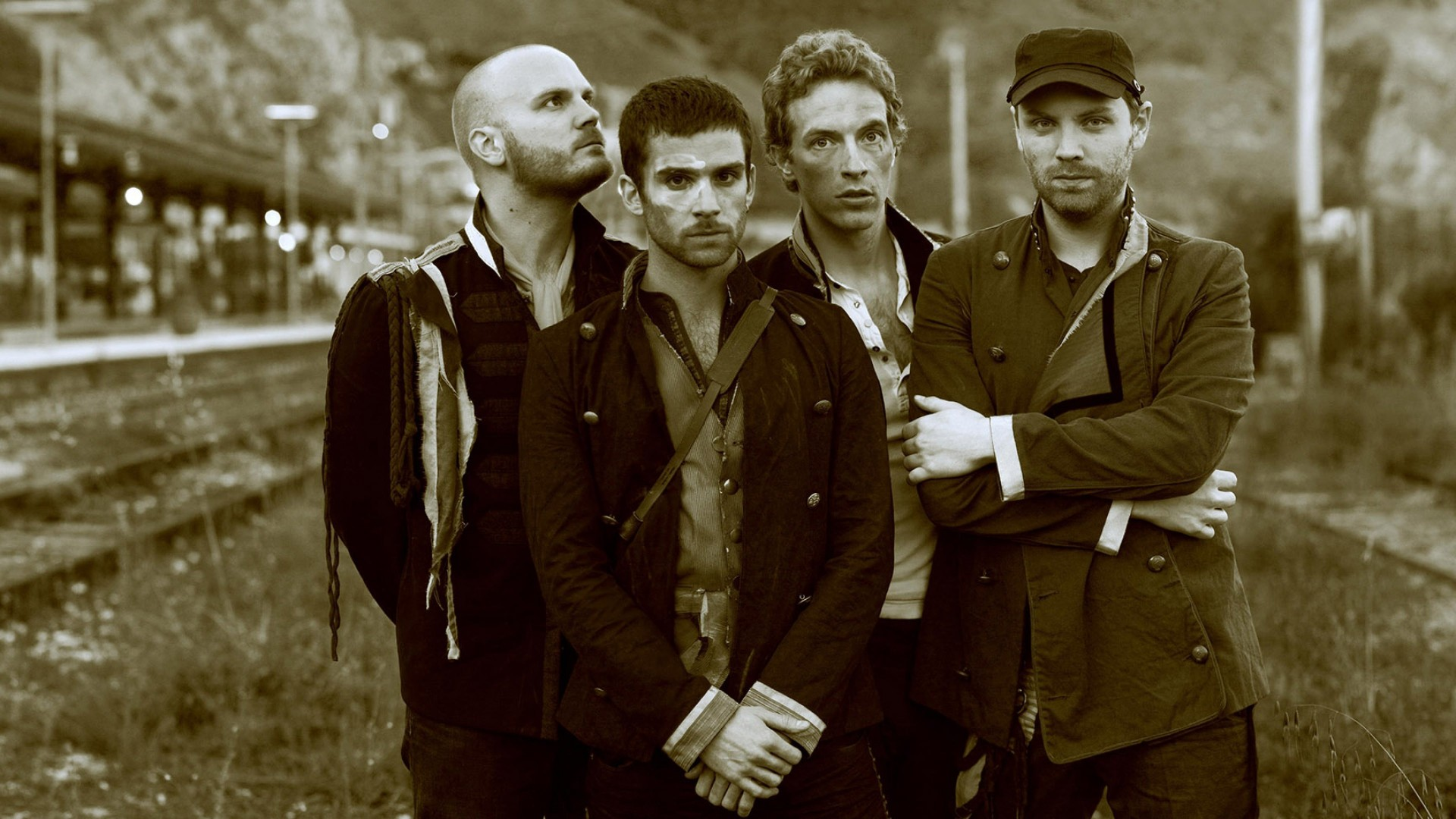 Coldplay Band Sepia Wallpaper for Desktop 1920x1080