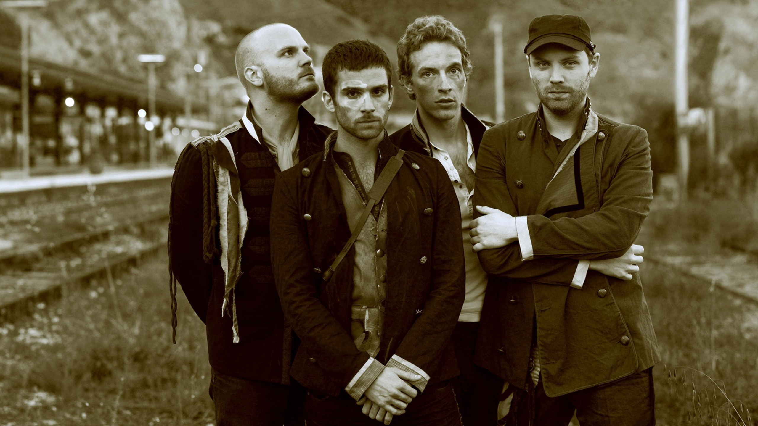 Coldplay Band Sepia Wallpaper for Desktop 2560x1440