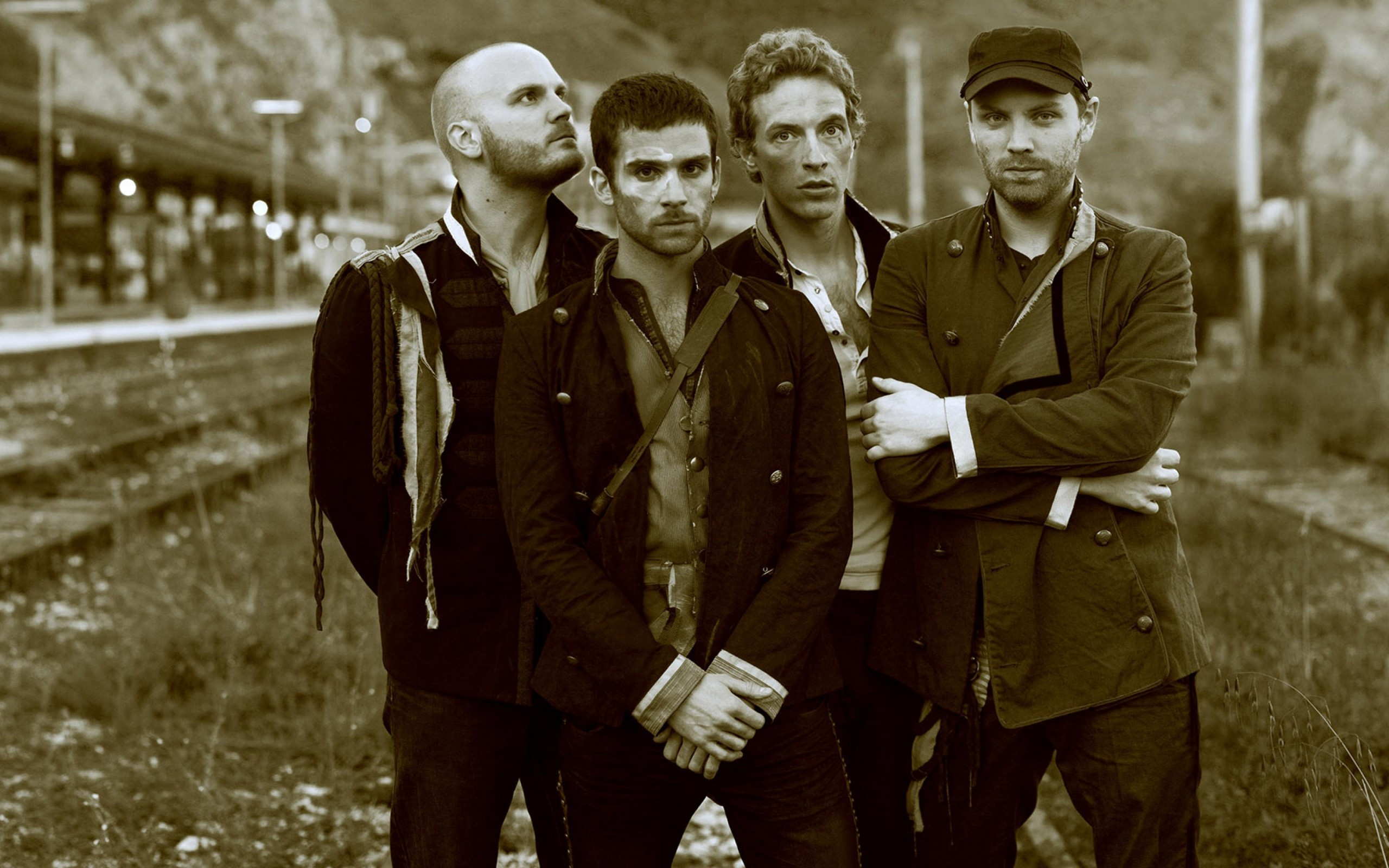 Coldplay Band Sepia Wallpaper for Desktop 2560x1600