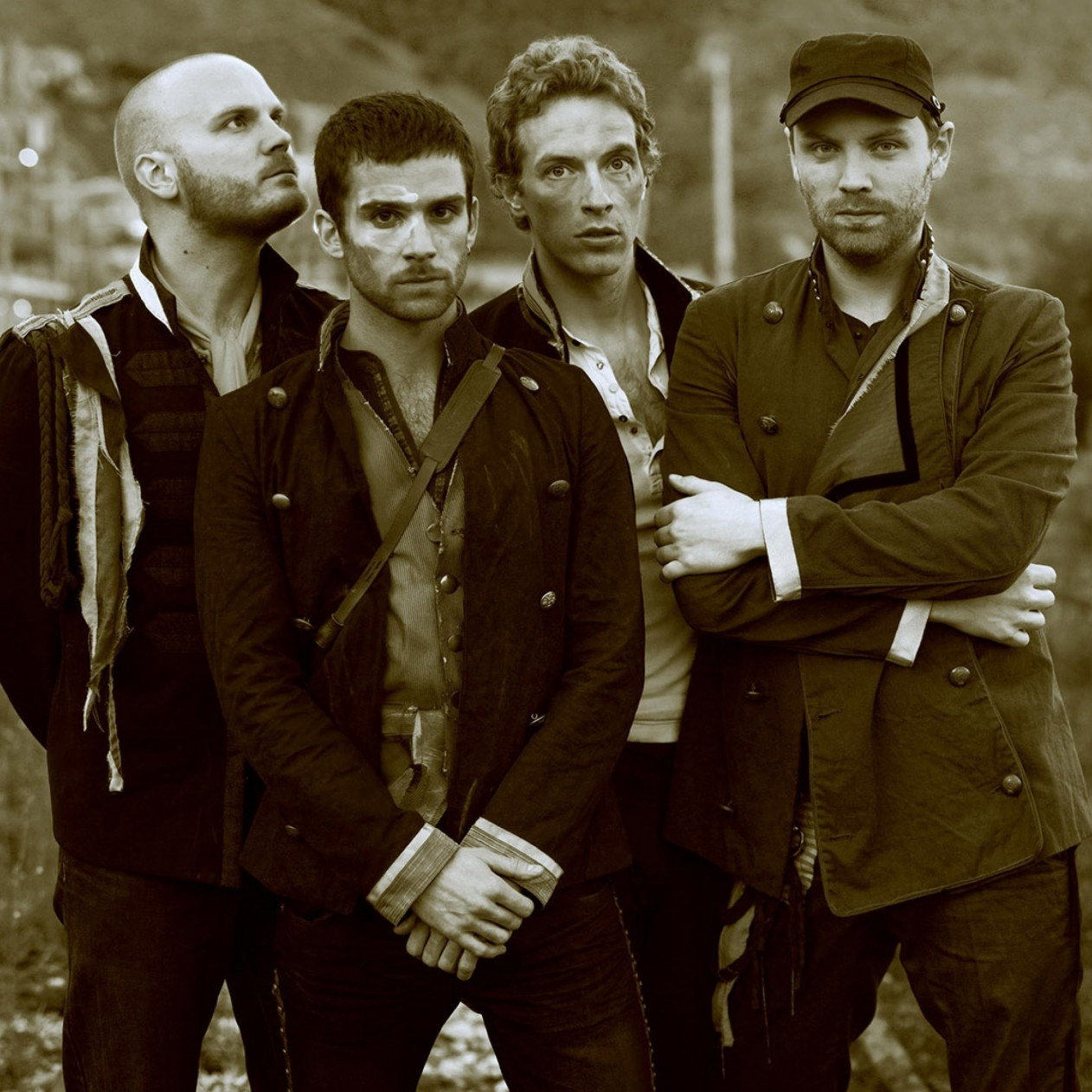 Coldplay Band Sepia Wallpaper for Apple iPad mini