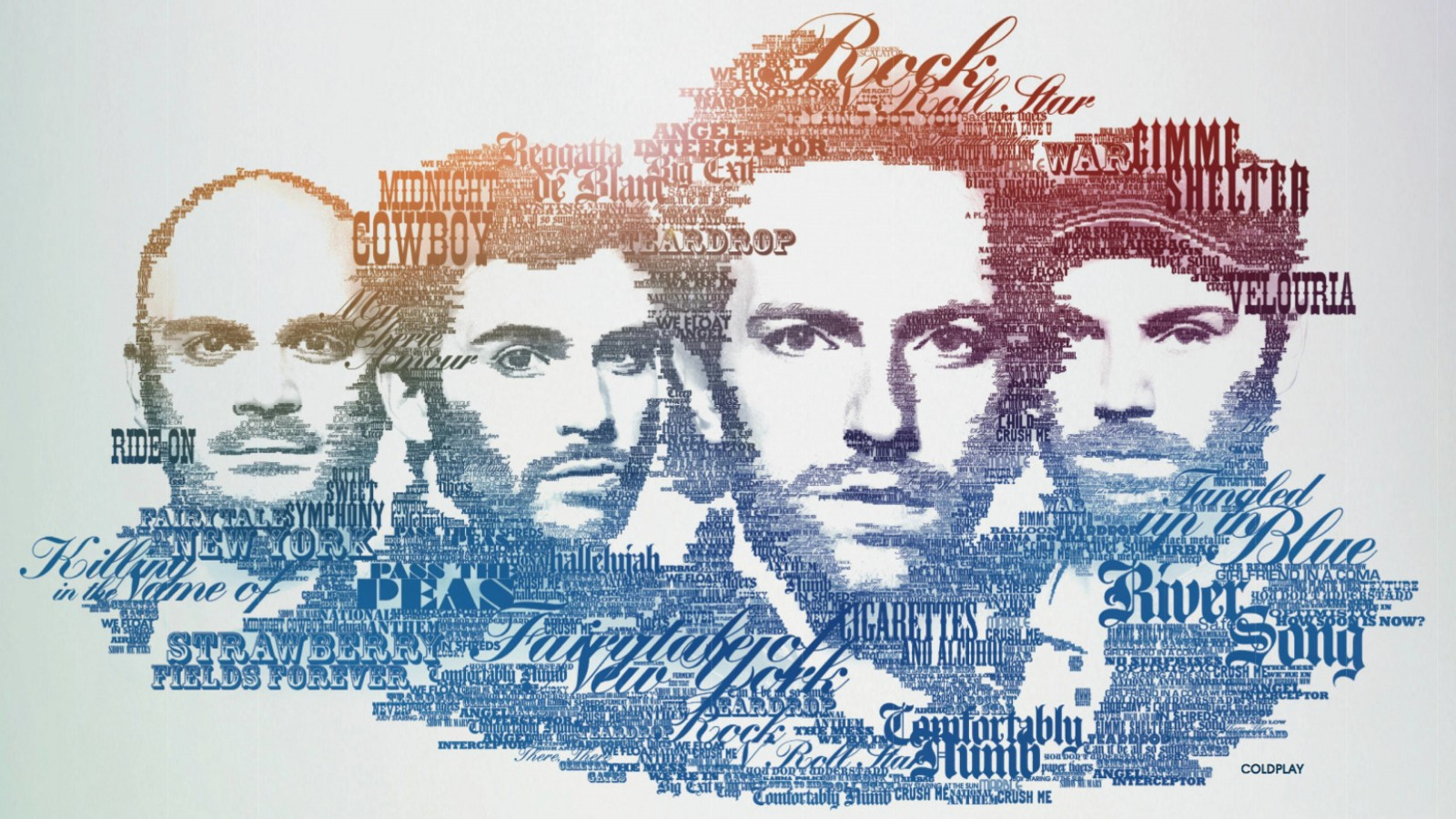Coldplay Typographic Portrait Wallpaper for Desktop 1600x900