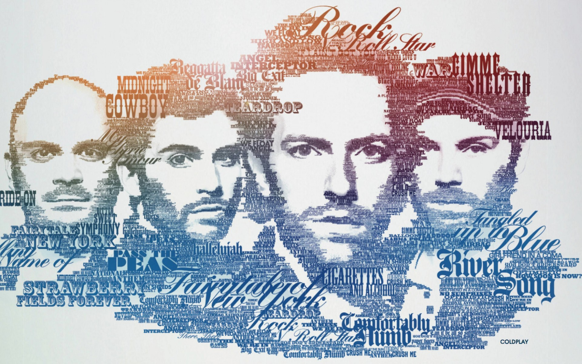 Coldplay Typographic Portrait Wallpaper for Desktop 1920x1200