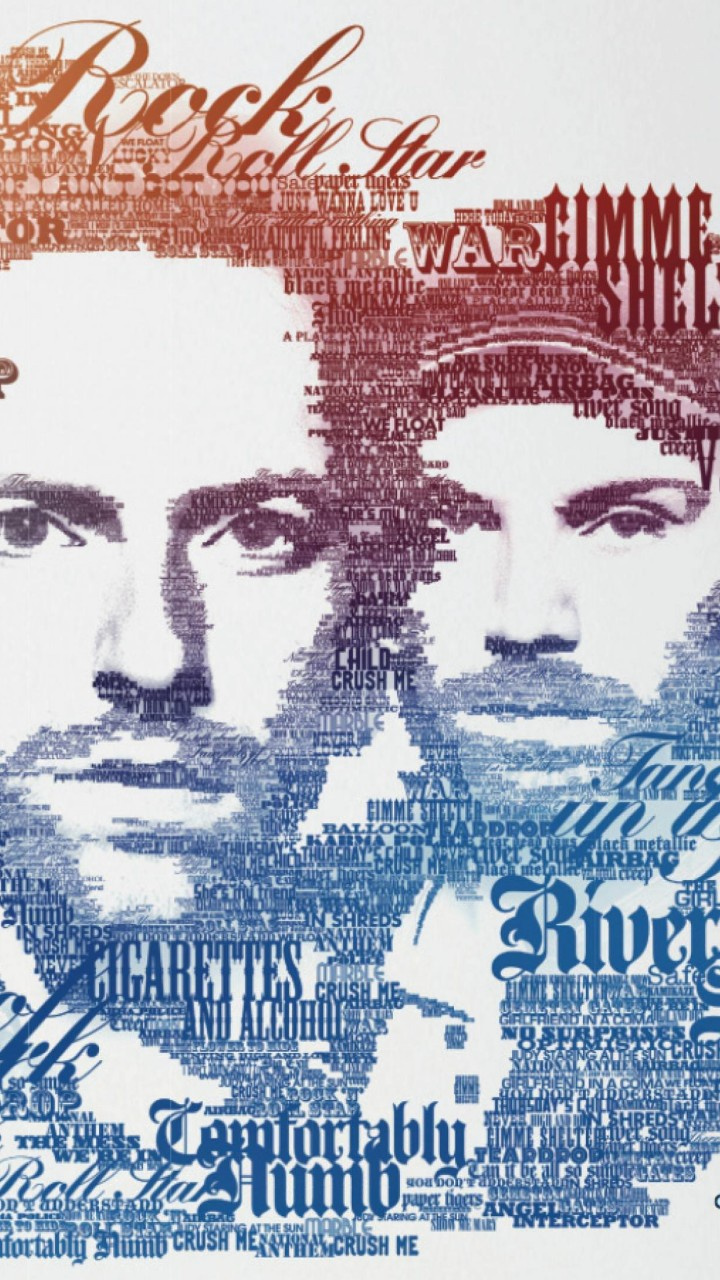 Coldplay Typographic Portrait Wallpaper for Motorola Droid Razr HD