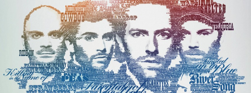 Coldplay Typographic Portrait Wallpaper for Social Media Facebook Cover
