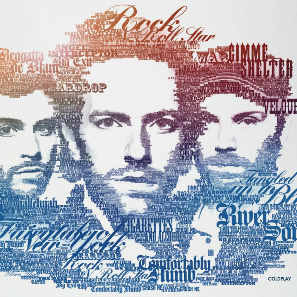 Coldplay Typographic Portrait Wallpaper for Apple iPad