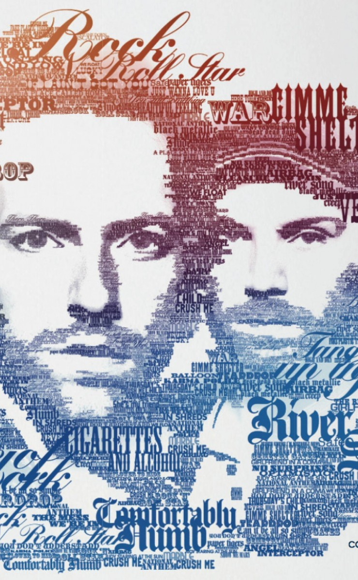 Coldplay Typographic Portrait Wallpaper for Apple iPhone 4 / 4s