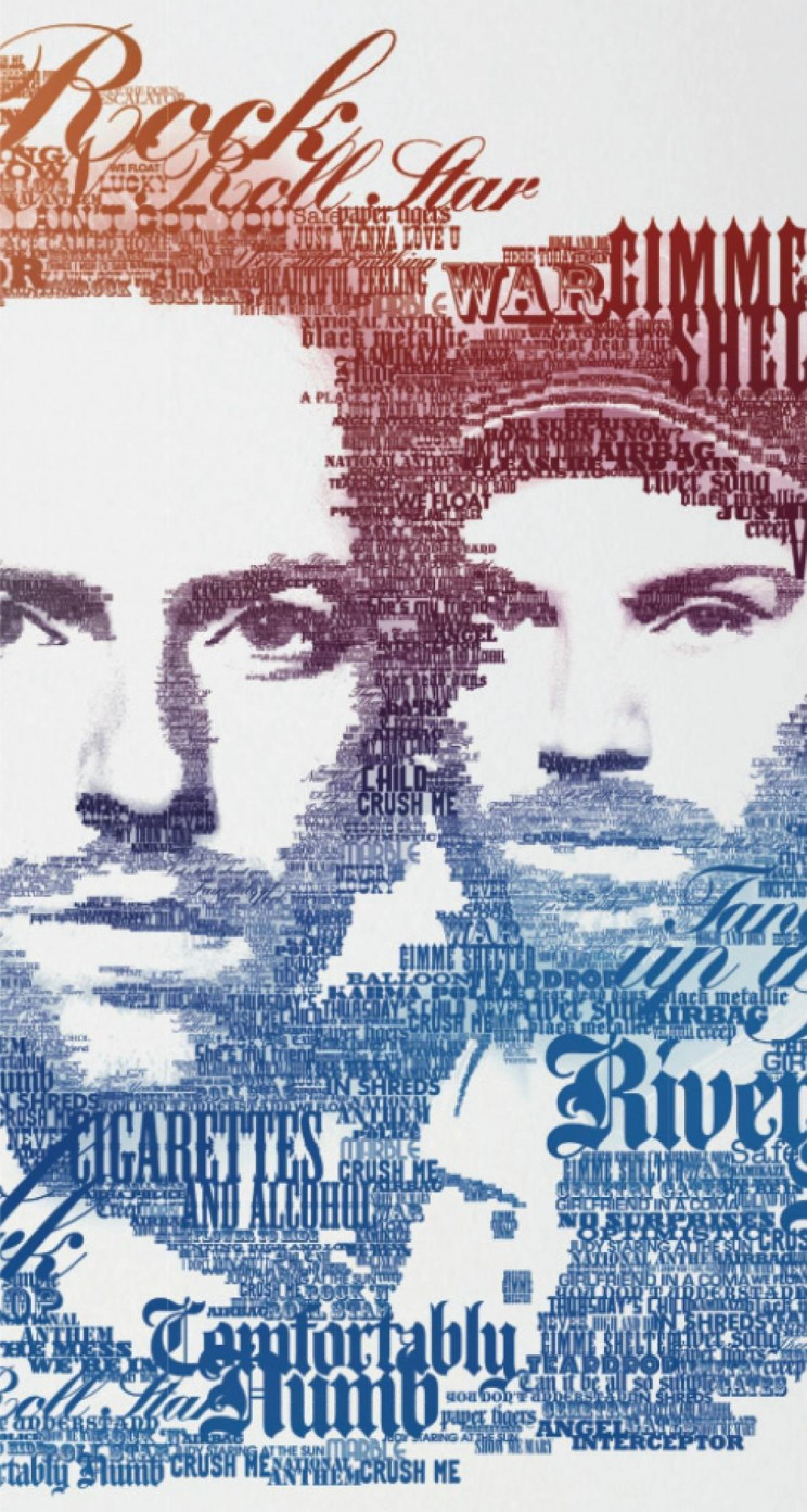 Coldplay Typographic Portrait Wallpaper for Apple iPhone 5 / 5s