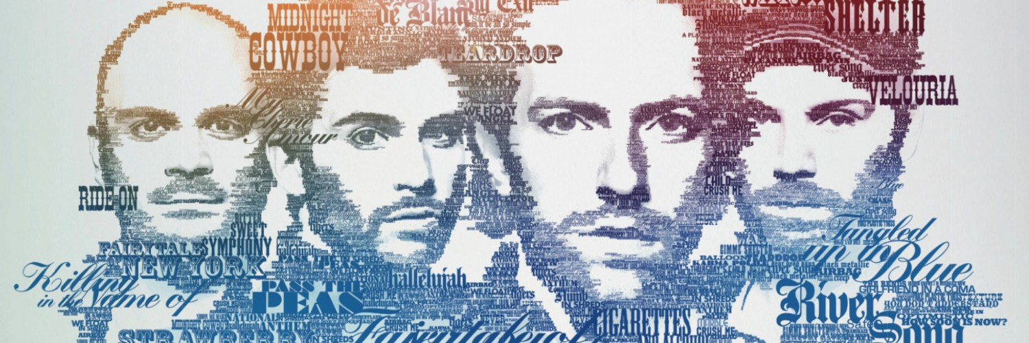 Coldplay Typographic Portrait Wallpaper for Social Media Twitter Header