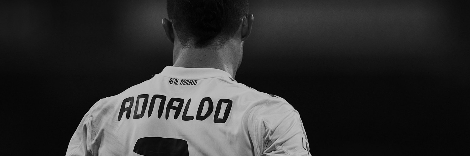 Cristiano Ronaldo in Black & White Wallpaper for Social Media Twitter Header