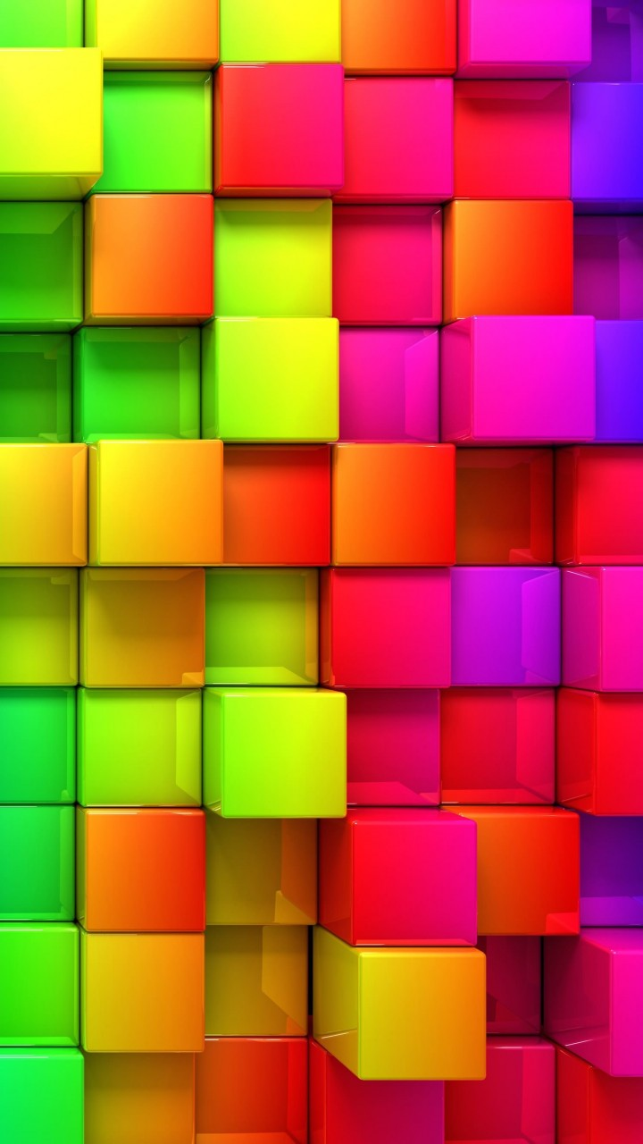 Cubic Rainbow Wallpaper for HTC One mini