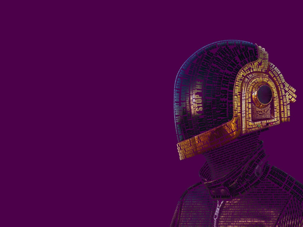 Daft Punk Typographic Portrait Wallpaper for Desktop 1024x768