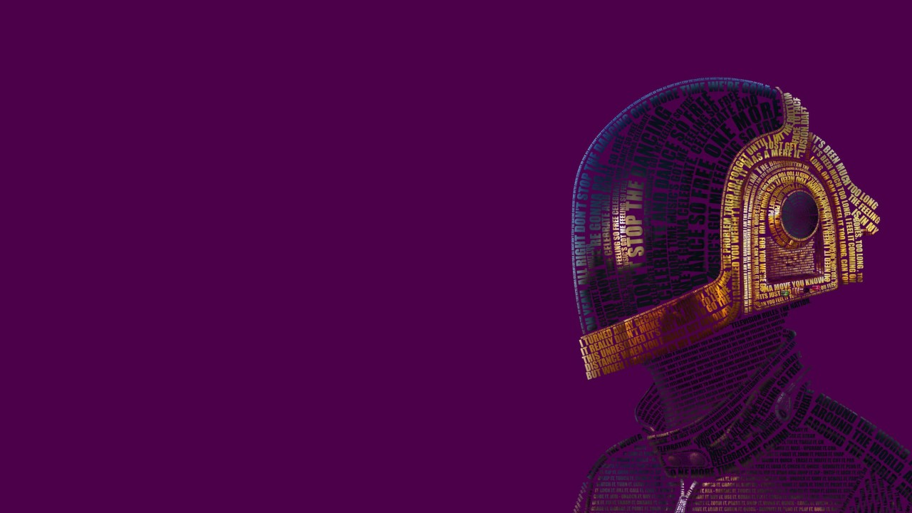 Daft Punk Typographic Portrait Wallpaper for Desktop 1280x720