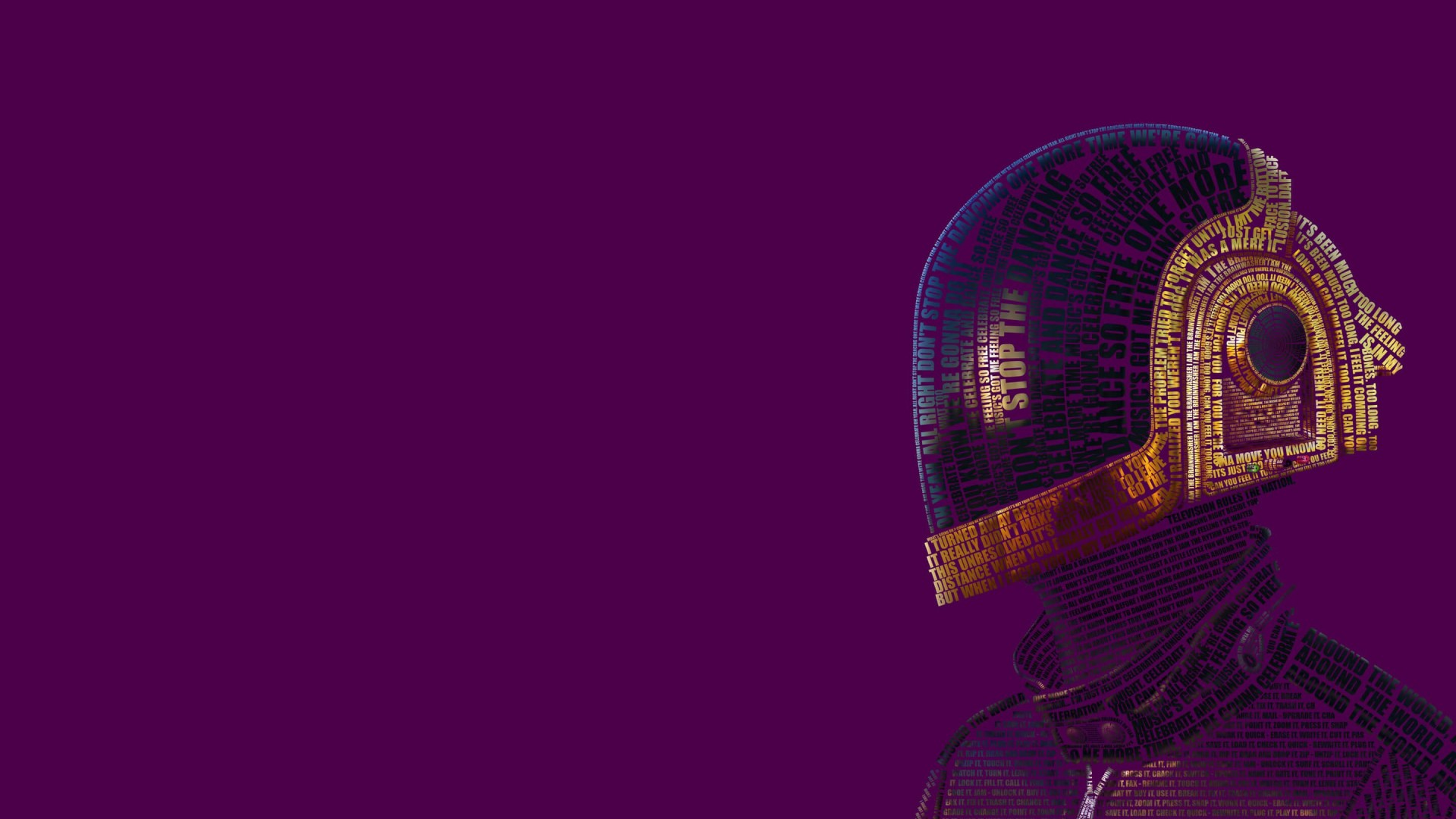 Daft Punk Typographic Portrait Wallpaper for Desktop 1920x1080