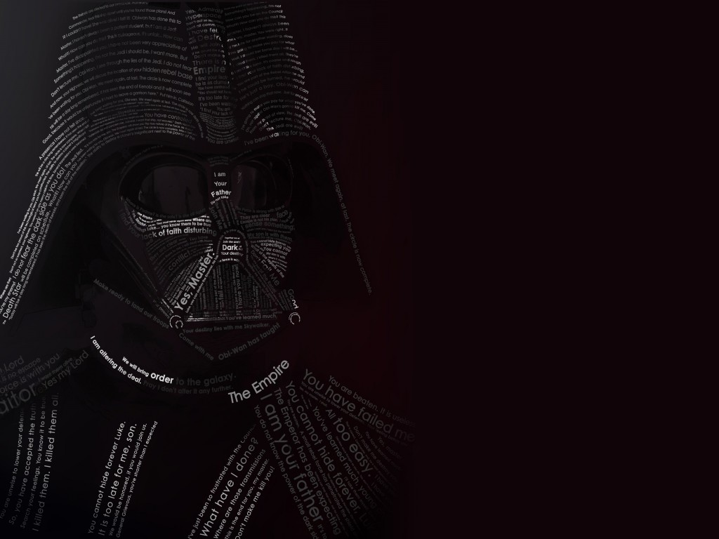 Darth Vader Typographic Portrait Wallpaper for Desktop 1024x768